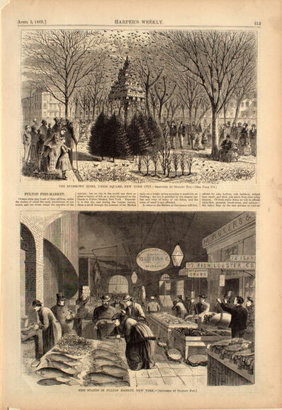 Stanley Fox, 'The Sparrows' Home, Union Square, New York City, and, Fish Stands in Fulton Market, New Yor', 1869