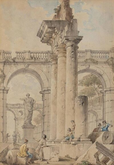 Giovanni Paolo Panini, 'An architectural capriccio with figures among classical ruins, broken columns and pediments'