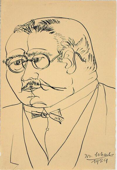 Josef Scharl, 'Mann mit Fliege und Brille (man with bow tie and glasses)', 1929