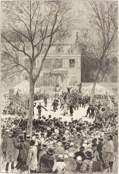 Daniel Vierge, 'Manifestation populaire du 27 Février pour fêter le 80 année de Victor Hugo', 1881
