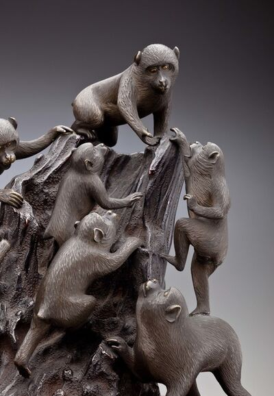 'Seven Monkeys Climb a Tree Stump (detail); Japan', 1868–1912