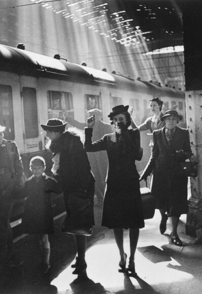 Bert Hardy, 'Wartime Terminus, Paddington Station (Women Waving)', 1942 (printed later)