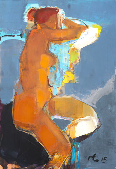 Serhiy Hai, 'Brown Nude, Blue Background', 2015