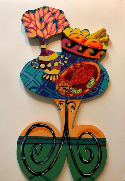 Amanda Watt, 'Pop Art Carved Wall Sculpture Painting Bright Vibrant Colors', 1990-1999