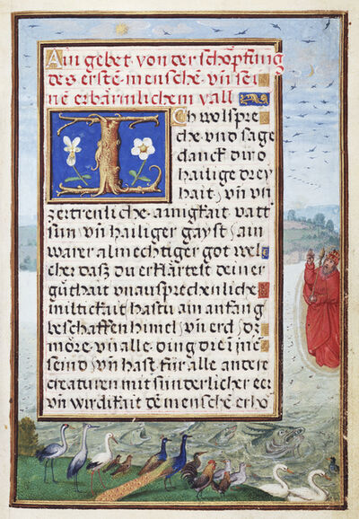 Simon Bening, 'Border with the Creation of Birds and Fishes', 1525-1530