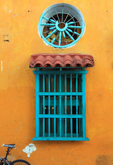 Larry Garmezy, 'Wheels, Cartagena - Caribbean city landscape, caribbean cityscape, bicycle, in colorful yellow and turquoise', 2017