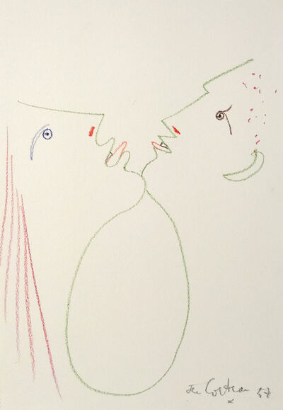 Jean Cocteau, 'Man and Woman Chin-to-Chin', 1957