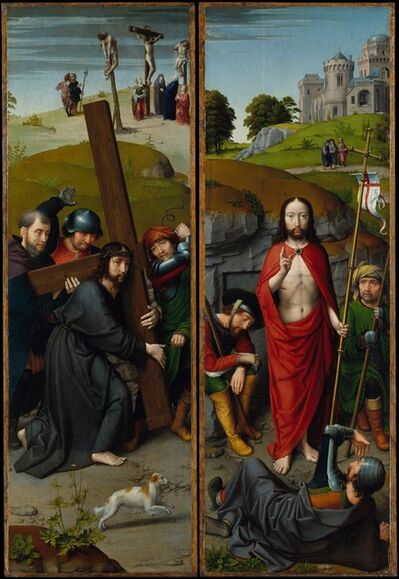 Gerard David, 'Christ Carrying the Cross, with the Crucifixion; The Resurrection, with the Pilgrims of Emmaus', ca. 1510