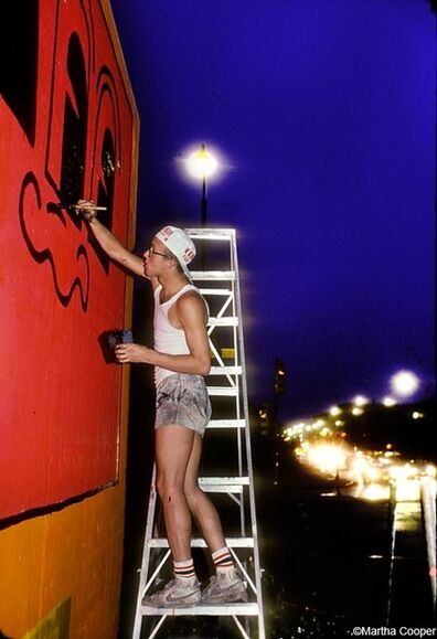 Martha Cooper, 'Keith Haring painting the Bowery Wall (Night)', ca. 80s