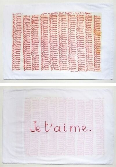 """Louise Bourgeois, 'Red Room (Parents) detail with text """"Je T'Aime""""', 2009"""