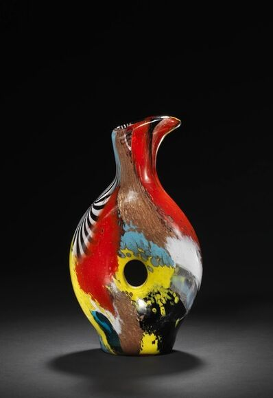 Dino Martens, 'Oriente. Pitcher-shaped vase of polychrome glass with pierced centre.'