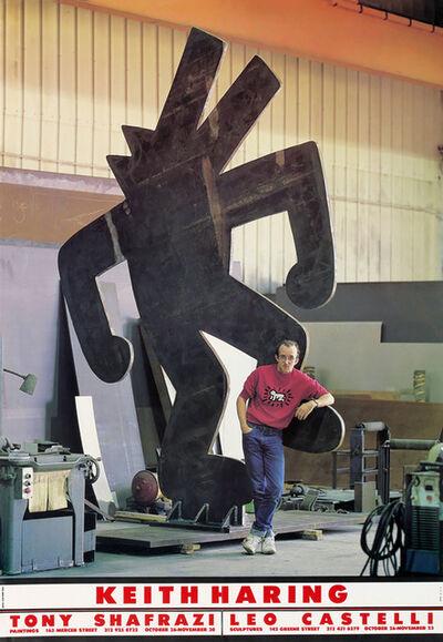 Keith Haring, 'Keith Haring Tony Shafrazi Leo Castelli exhibition poster 1985', 1985