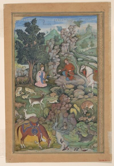 "Attributed to Miskin, '""Bahram Gur Sees a Herd of Deer Mesmerized by Dilaram' s Music"", Folio from a Khamsa (Quintet) of Amir Khusrau Dihlavi', 1597–1598"