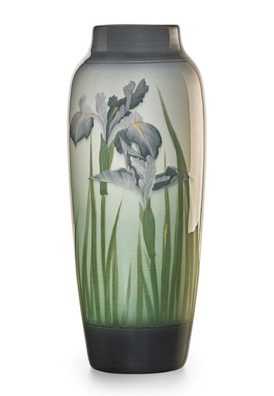 Sallie Coyne, 'Banded Iris Glaze vase with irises, Cincinnati, OH', 1910