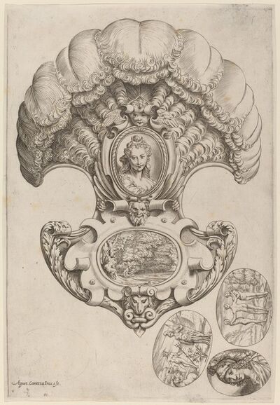 Agostino Carracci, 'A Headpiece in the Form of a Fan', ca. 1589/1595
