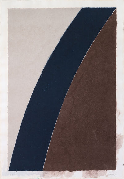 Ellsworth Kelly, 'Colored Paper Image XII (Blue Curve with Brown and Gray)', 1976