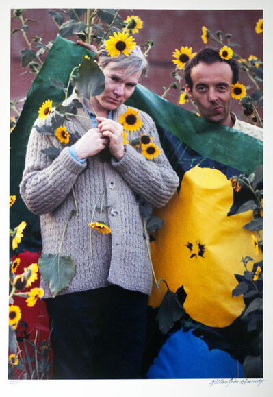 William John Kennedy, 'Andy Warhol and Taylor Mead with the Flowers canvas', 1964