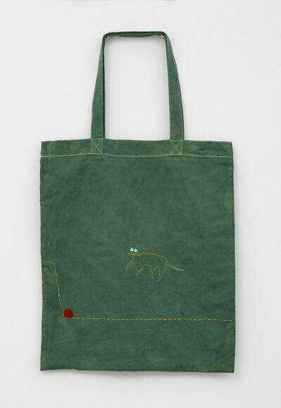Noel McKenna, 'Green tote with cat jumping on rabbit', 2019