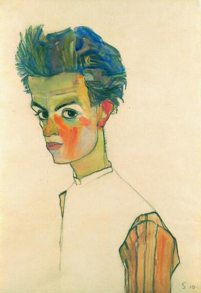 Egon Schiele, 'Self-Portrait with Striped Shirt', 1910