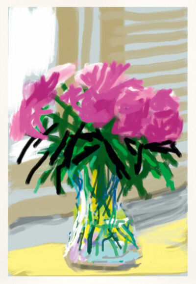 "David Hockney, '""Untitled"" Peonies iPhone Drawing. My Window No. 535, 2009,', 2009"