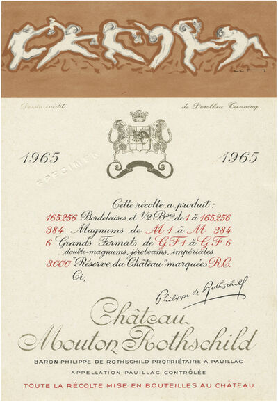Stephen Prina, 'galesburg, illinois+, Dorothea Tanning, Born: August 25, 1910, Galesburg, Illinois, Died: January 31, 2012, New York, New York, Château Mouton Rothschild, 1965, Wine Bottle Label Design', 2015