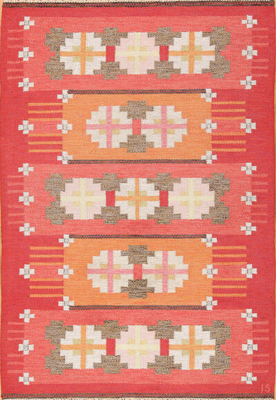 Ingegerd Silow, 'Vintage Flat Woven Kilim Scandinavian Ingegerd Silow Rug', ca. 1950