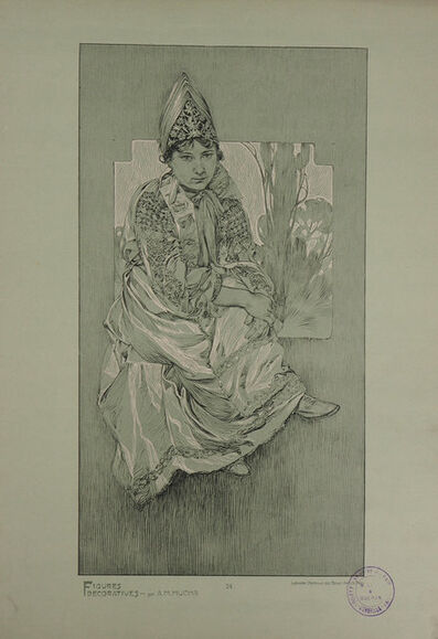 Alphonse Mucha, 'Woman in traditional outfit', 1902