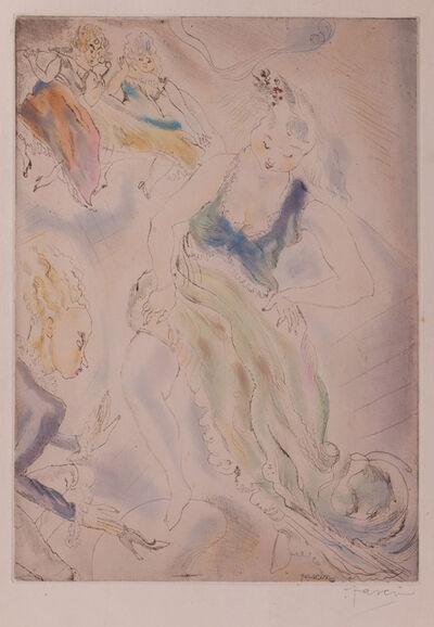 Jules Pascin, 'Cendrillon (Cinderella, trying on the slipper)', 1929