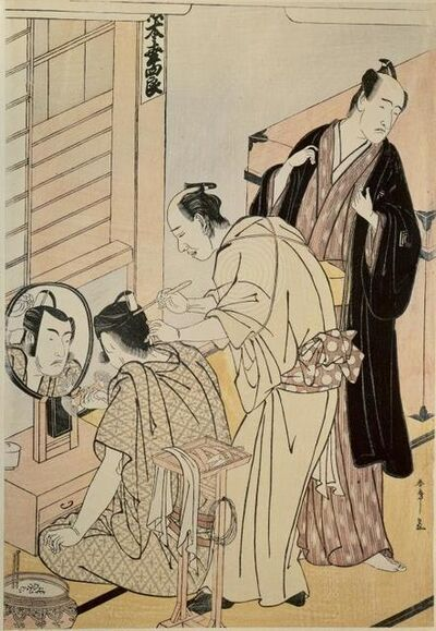 Katsukawa Shunsho, 'The actor Matsumoto Koshino applying make-up in her dressing room', 1789