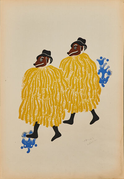Carlos Merida, 'Two Men in Costume and Wearing Masks From Huixquilucan at the Fiesta of the Huehuenches', 1940