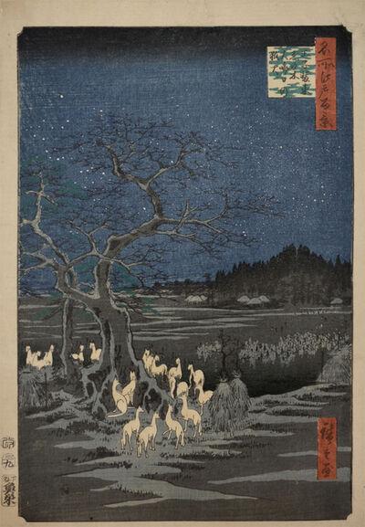 Utagawa Hiroshige (Andō Hiroshige), 'Foxfires at New Year's Eve at Changing Tree', 1857