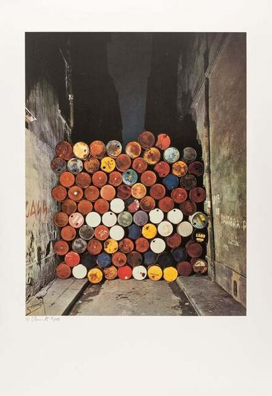 Christo and Jeanne-Claude, 'Wall of Oil Barrels - The Iron Curtain, Rue Visconti, Paris, 1961-62', 1990