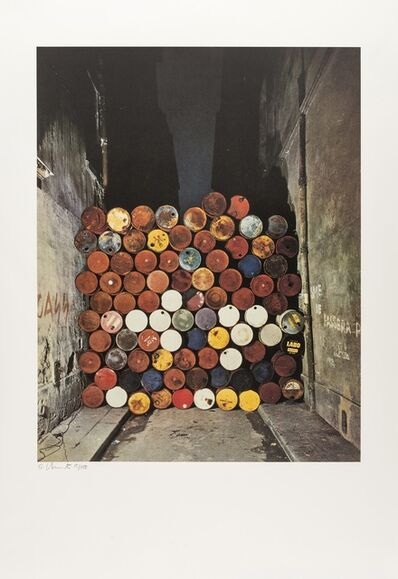 Christo and Jeanne-Claude, 'Wall of Oil Barrels- The Iron Curtain, Rue Visconti, Paris, 1961-62 (Schellmann 151)', 1990
