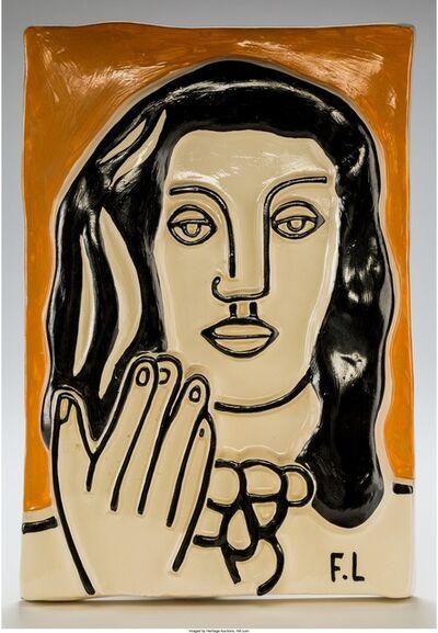 Fernand Léger, 'Visage aux deux mains sur fond orange', circa 1950