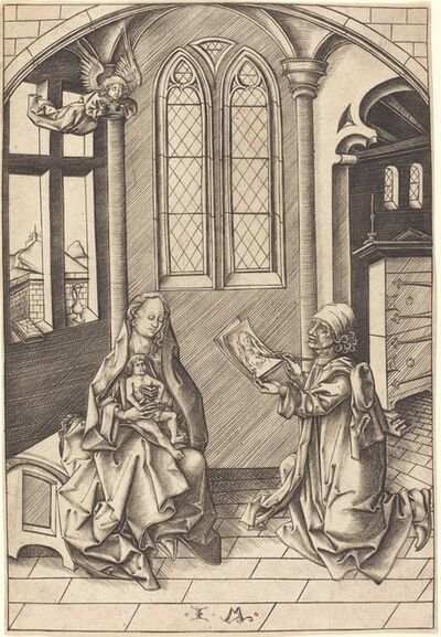 Israhel van Meckenem, 'Saint Luke Drawing a Portrait of the Virgin', ca. 1475