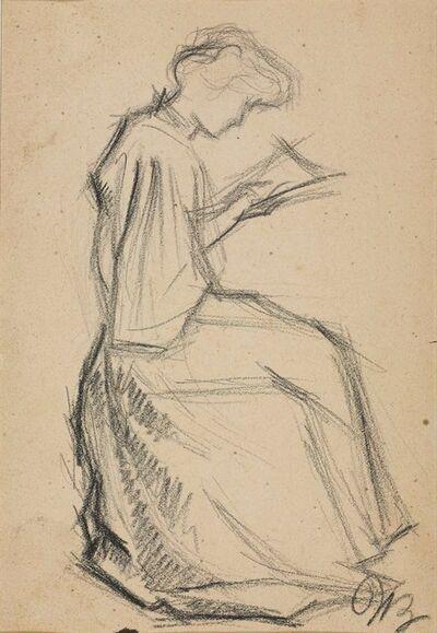 Umberto Boccioni, 'Studio per Romanzo di una cucitrice, (Figura femminile che legge o cuce)', 1908