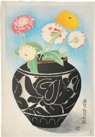 Yamamura Kōka, 'Jar and Zinnia', ca. 1924