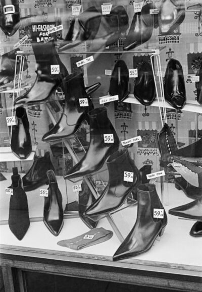 George Rodger, 'G.B. ENGLAND. Liverpool. Shoe bargains. ', 1964