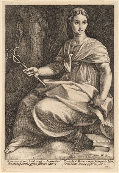 Hendrik Goltzius, 'Polyhymnia', probably 1592