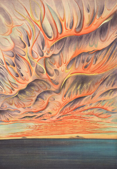 Chiura Obata, 'Setting Sun on Sacramento Valley, California', 1930