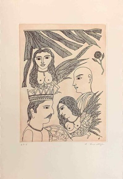 "Badri Narayan, 'Untitled, Etching on Paper by Padmashree Artist ""In Stock""', ca. Circa"