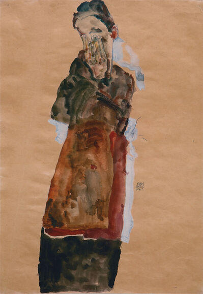 Egon Schiele, 'Standing Woman Covering Face with Both Hands', 1911
