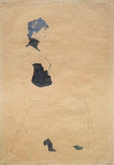 Egon Schiele, 'Woman in Profile, Seated in a Chair', 1909