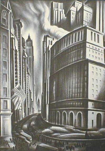 Howard N. Cook, 'Looking Up Broadway', 1937