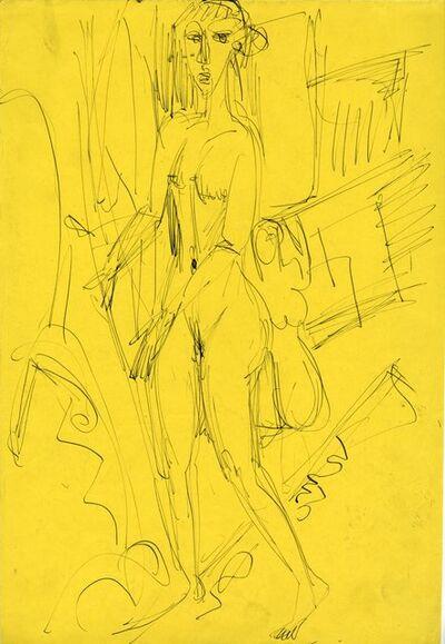 Ernst Ludwig Kirchner, 'Stehendes nacktes Mädchen (Gerda) (Standing Nude Girl (Gerda))', 1915