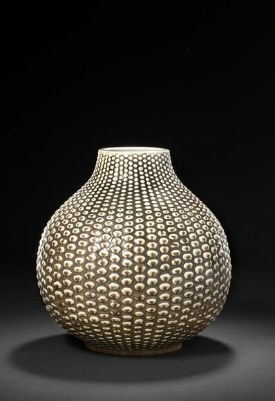 Axel Salto, 'A round stoneware vase modelled in budded style. Decorated with solfatara glaze.'