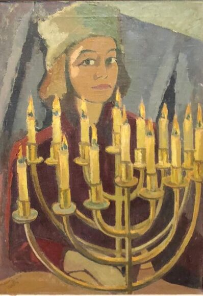 "Hildegard Rath, '1950's Expressionist Judaica Painting ""I Lit All My Candles"" Hanukkah Menorah  ', 1950-1959"