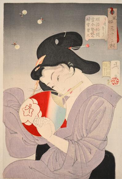Tsukioka Yoshitoshi, 'The Delighted Type: A Modern Geisha in the Meiji Era', 1888