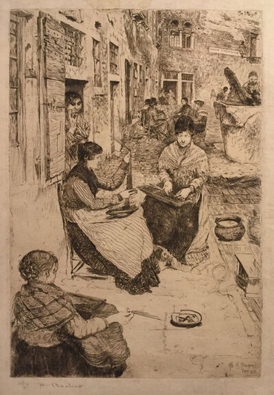 Otto Henry Bacher, 'Bead Stringers, Perleria, Venice', Unknown
