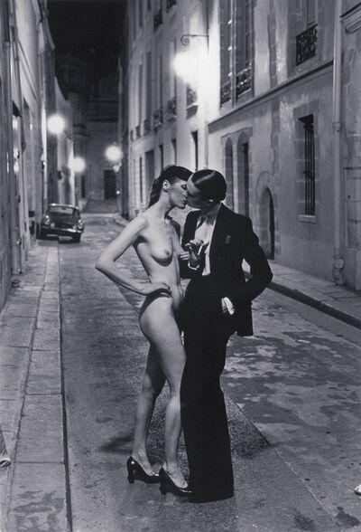 Helmut Newton, 'Kissing Rue Aubriot, Paris ', 1976